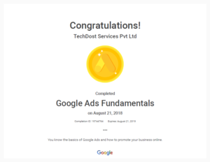 Google Ads Fundamentals Certificate TechDost