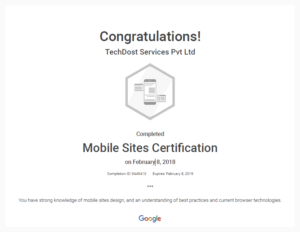 Mobile Site Certificate TechDost